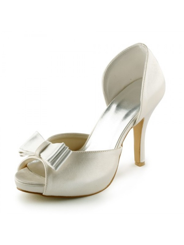 Exquisite Women Satin Stiletto Heel Peep Toe Platform Sandals Ivory Wedding Shoes