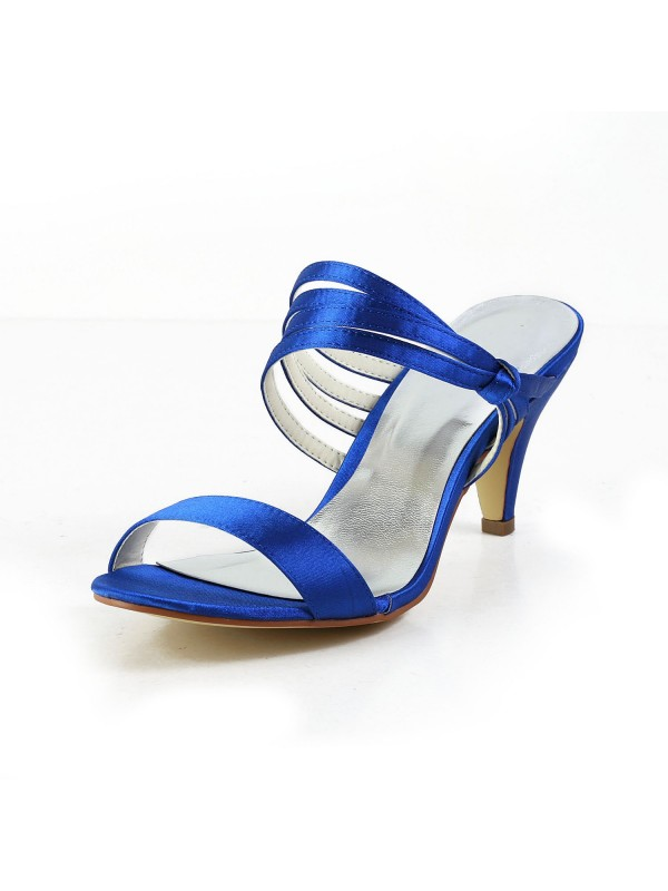 Hot Sale Women Satin Cone Heel Peep Toe Pumps Sandals Shoes
