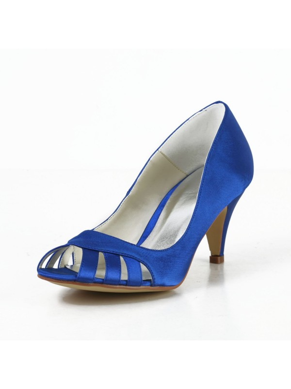 Beautiful Women Satin Cone Heel Peep Toe Pumps High Heels Hollow-out