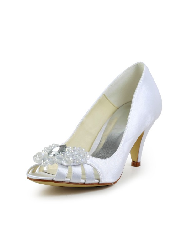 Exquisite Women Satin Cone Heel Peep Toe Sandals White Wedding Shoes Hollow-out