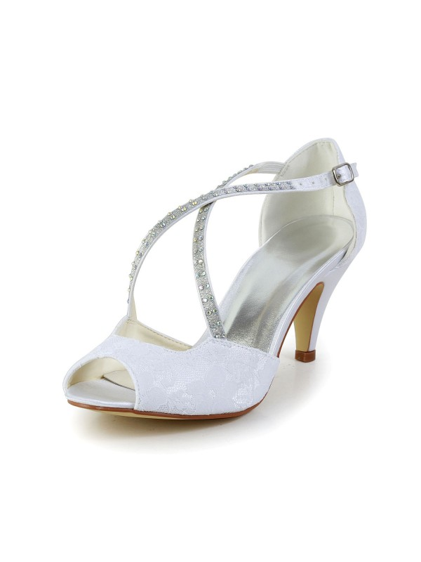 Exquisite Women Satin Cone Heel Peep Toe Sandals White Wedding Shoes Buckle