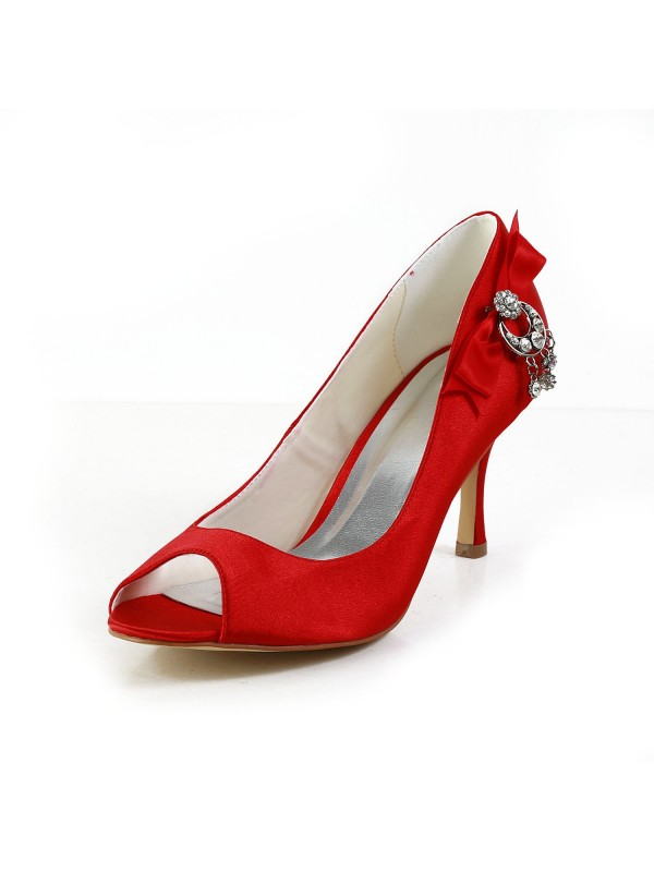 Exquisite Women Satin Peep Toe Spool Heel Red Wedding Shoes