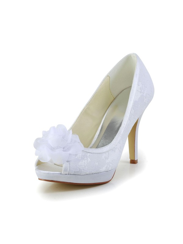 Exquisite Women Satin Peep Toe Stiletto Heel White Wedding Shoes Flower