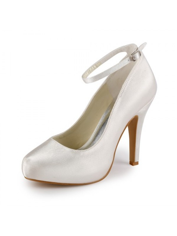 Exquisite Women Satin Stiletto Heel Closed Toe Platform Ivory Wedding Shoes Buckle