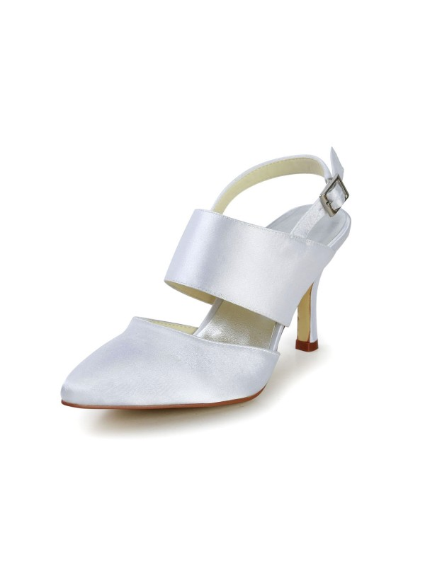 Exquisite Women Satin Stiletto Heel Closed Toe Buckle White Wedding Shoes