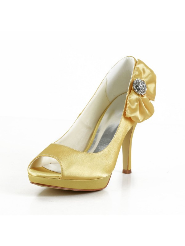 Exquisite Women Satin Stiletto Heel Peep Toe Platform Gold Wedding Shoes