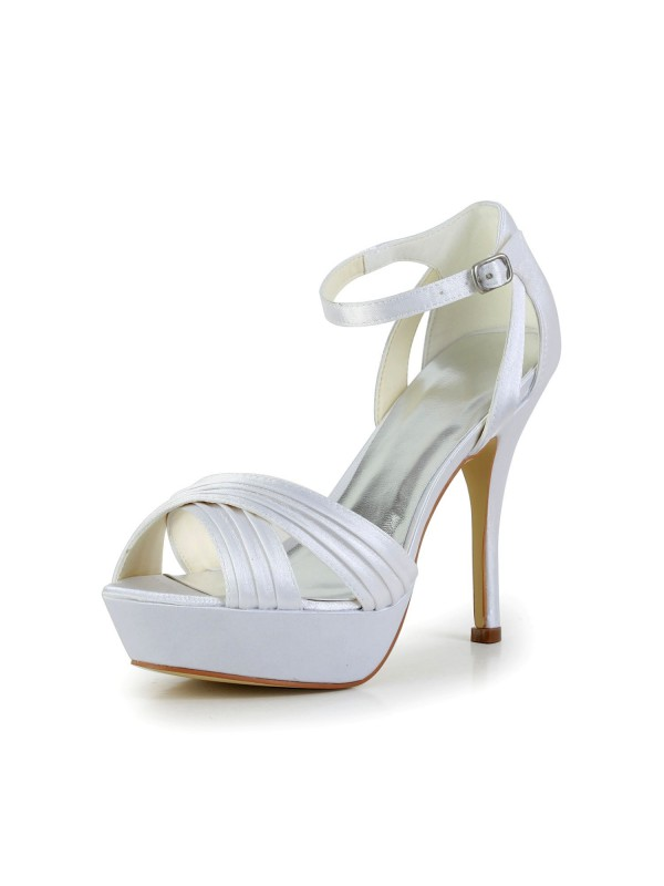 Exquisite Women Satin Stiletto Heel Peep Toe Platform Sandals White Wedding Shoes Buckle