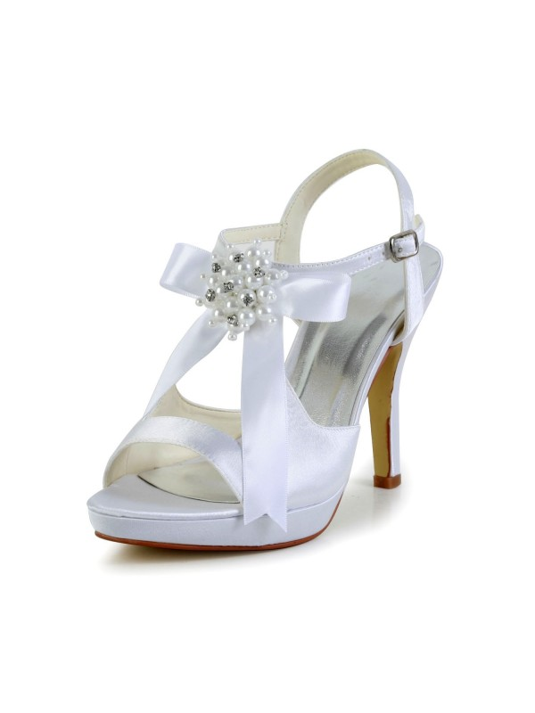 Exquisite Women Satin Stiletto Heel Peep Toe Platform Sandals White Wedding Shoes