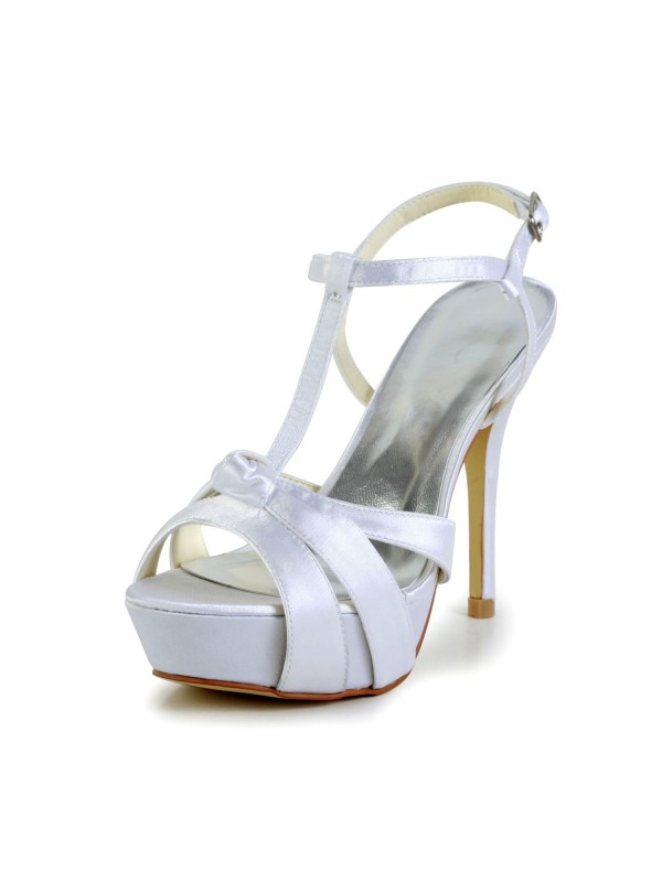 Exquisite Women Satin Stiletto Heel Peep Toe Slingbacks Sandal White Wedding Shoes Buckle
