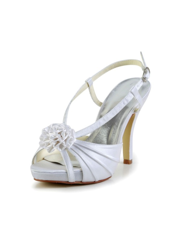 Exquisite Women Satin Stiletto Heel Peep Toe Platform White Wedding Shoes Buckle