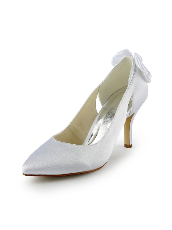 Fashion Women Satin Stiletto Heel Pumps Hollow-out White Wedding Shoes