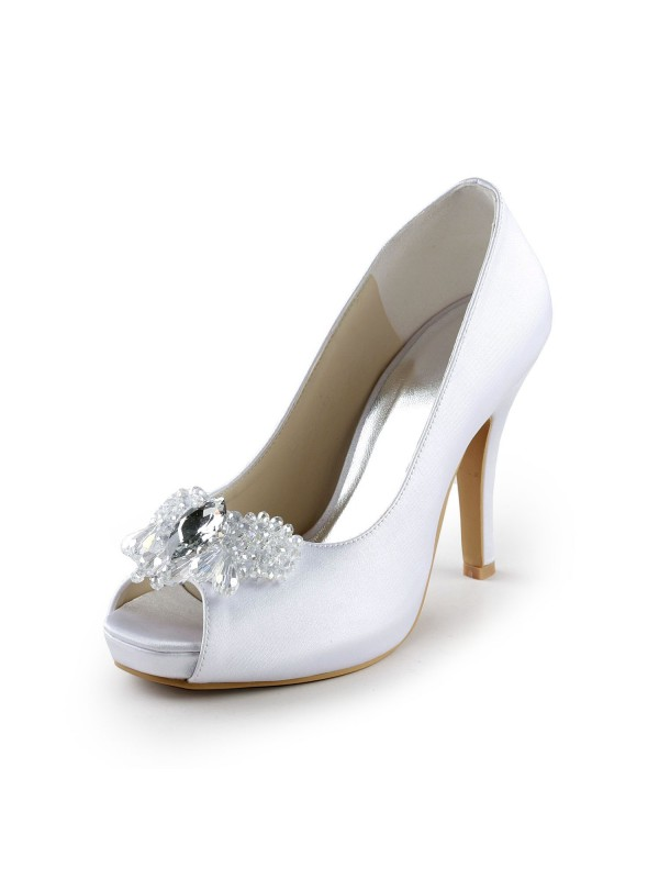 Exquisite Women Satin Upper Stiletto Heel Peep Toe Pumps White Wedding Shoes