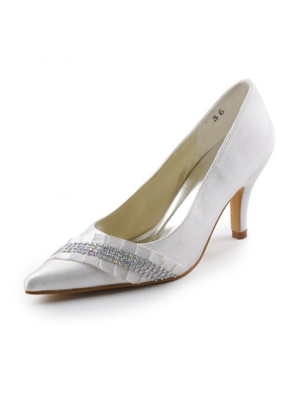 Exquisite Women Satin Stiletto Heel Pointed toe White Wedding Shoes