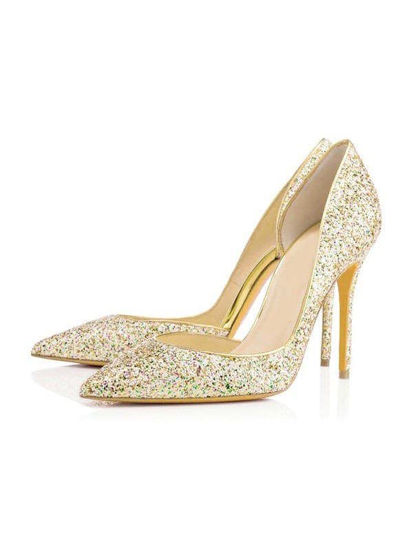 Chic Women Closed Toe Stiletto Heel Sequin High Heels