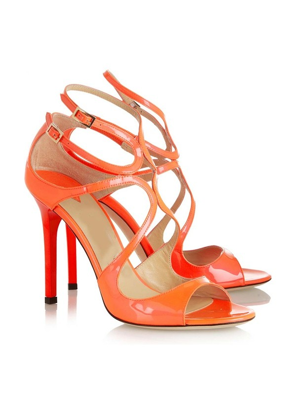Hot Sale Women Peep Toe Patent Leather Stiletto Heel Buckle Sandals Shoes
