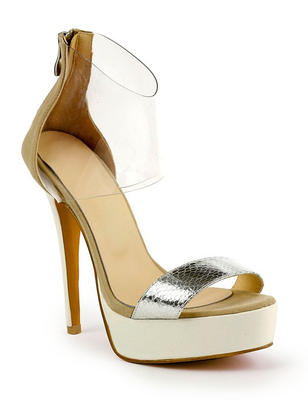 Beautiful Women Stiletto Heel Patent Leather Peep Toe Platform Sandals Shoes
