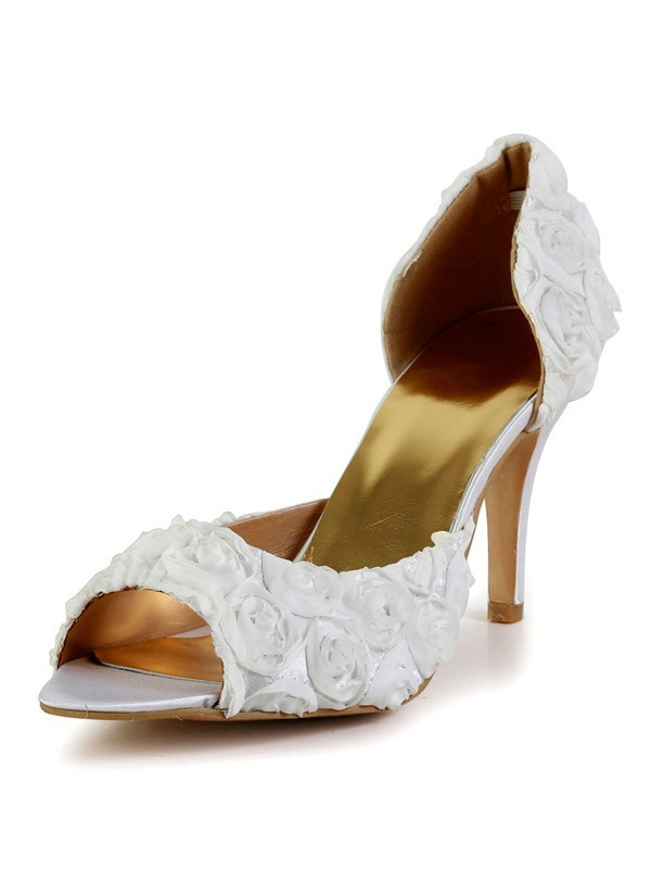 Classical Women Stiletto Heel Silk Peep Toe Flower White Wedding Shoes