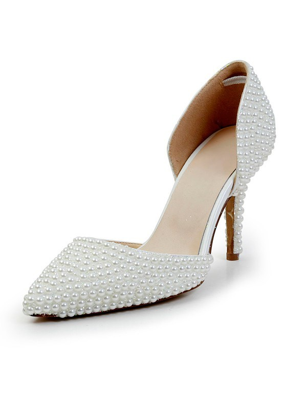 Chic Women Stiletto Heel Patent Leather Closed Toe Pearl High Heels