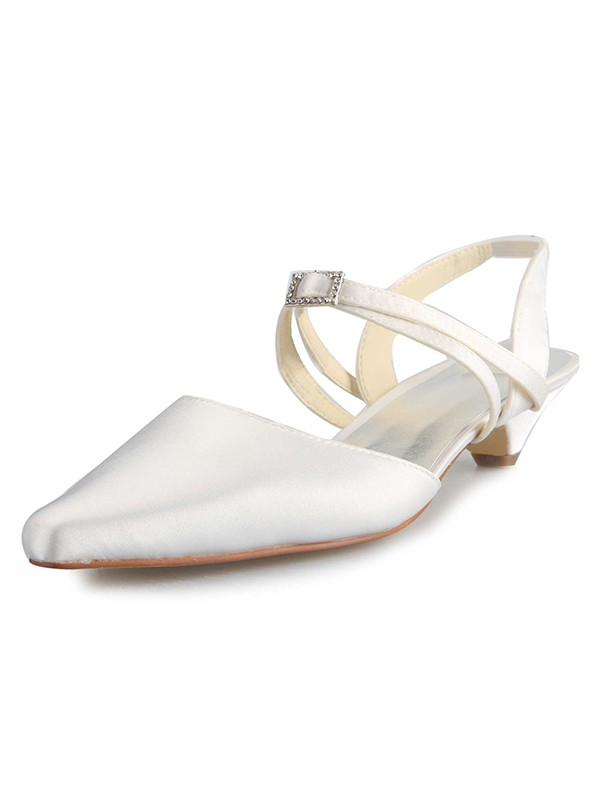 Classical Women Satin Kitten Heel Closed Toe Buckle White Wedding Shoes