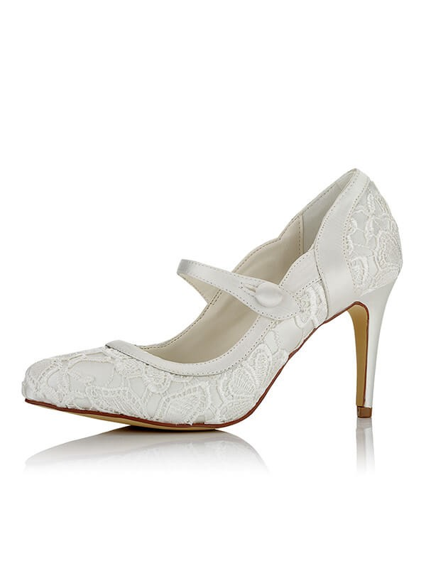 Comfortable Women Satin PU Closed Toe Stiletto Heel Wedding Shoes