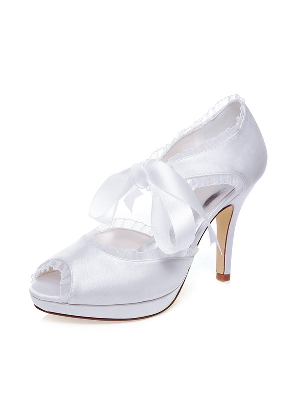 Beautiful Women Satin Peep Toe Silk Stiletto Heel Wedding Shoes