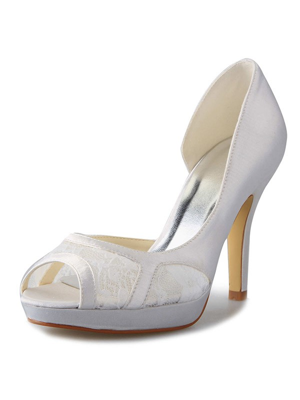 Classical Women Stiletto Heel Satin Platform Peep Toe Lace White Wedding Shoes
