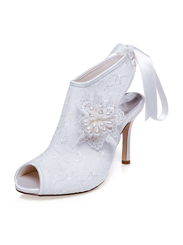 Beautiful Women Satin Peep Toe Flower Stiletto Heel Wedding Shoes