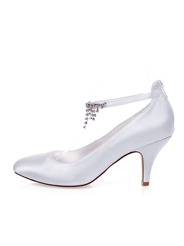Beautiful Women Satin Closed Toe Spool Heel Wedding Shoes