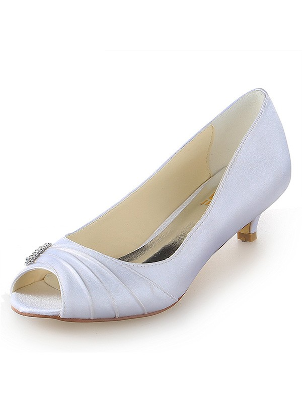 Classical Women Satin Peep Toe Kitten Heel White Wedding Shoes