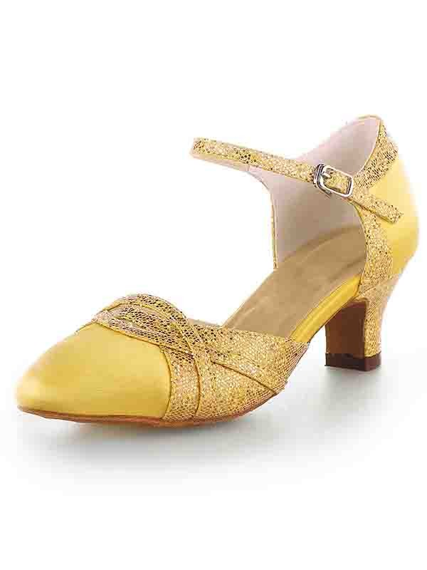 Stylish Women Satin Closed Toe Chunky Heel Sparkling Glitter High Heels