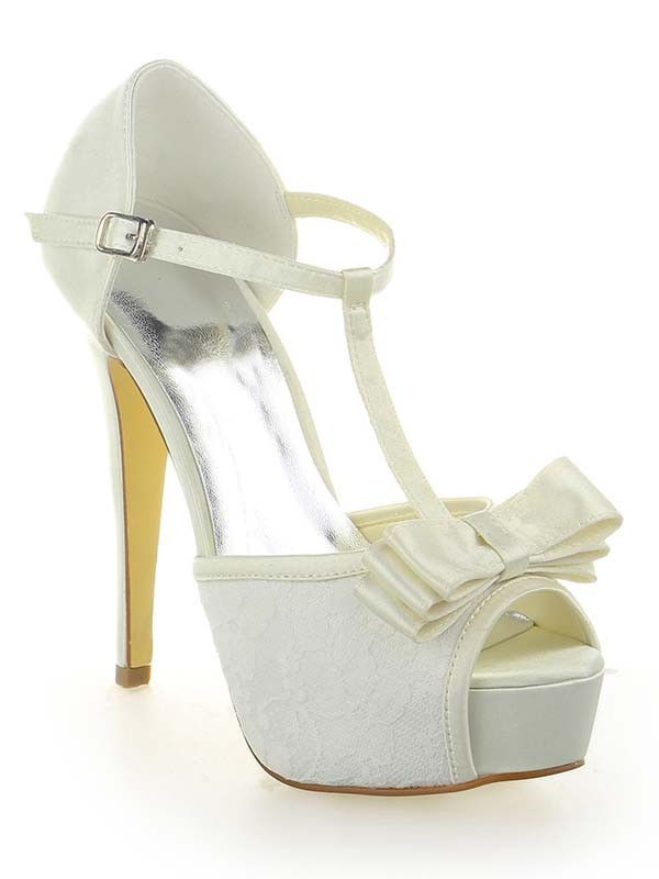 Classical Women Satin Lace Platform Peep Toe Stiletto Heel White Wedding Shoes