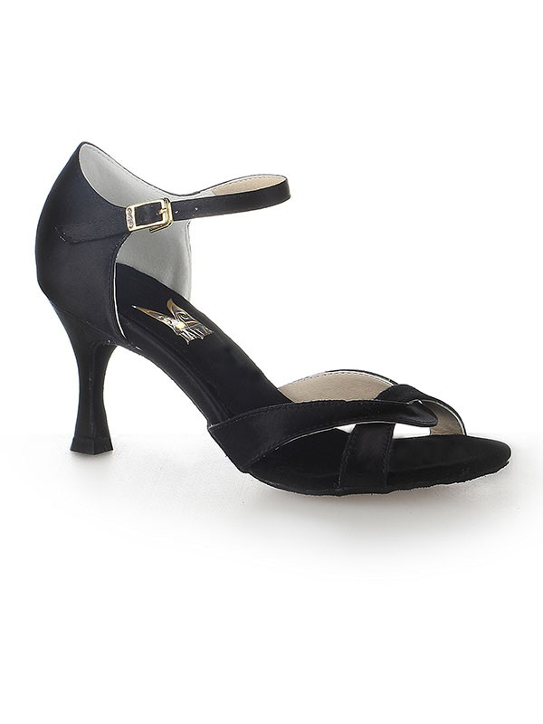 Classical Women Satin Peep Toe Stiletto Heel Buckle Dance Shoes