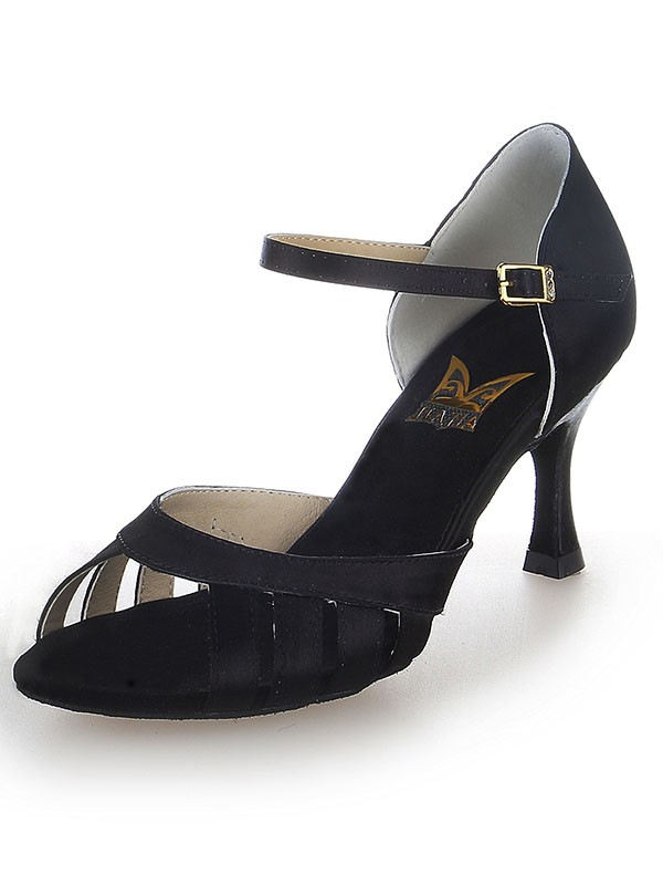 New Women Satin Peep Toe Buckle Stiletto Heel Dance Shoes