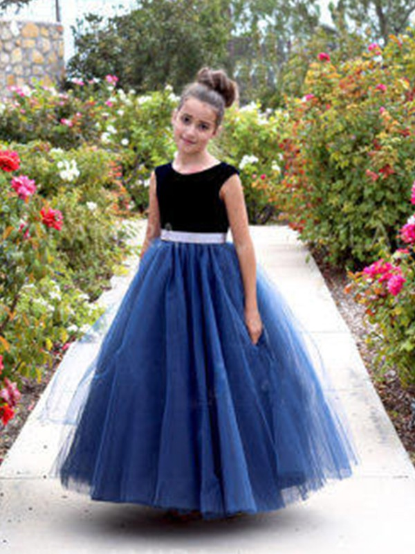 Amazing A-Line Sleeveless Scoop Ankle-Length Tulle Flower Girl Dress