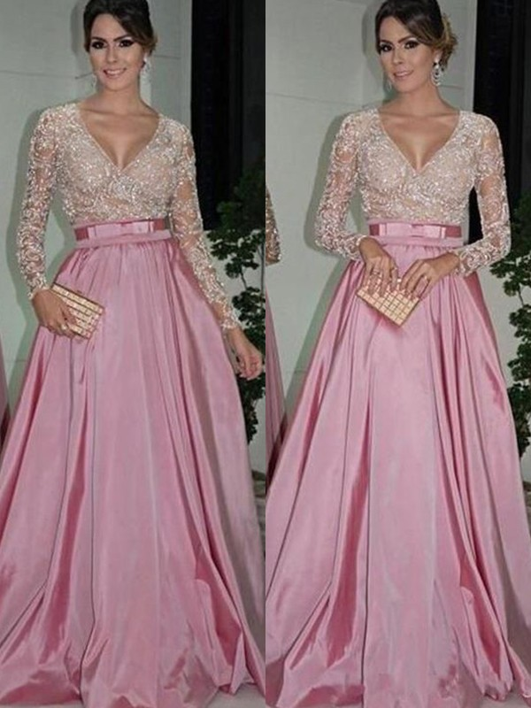 Chic A-Line Long Sleeves V-neck Floor-Length Lace Satin Dress