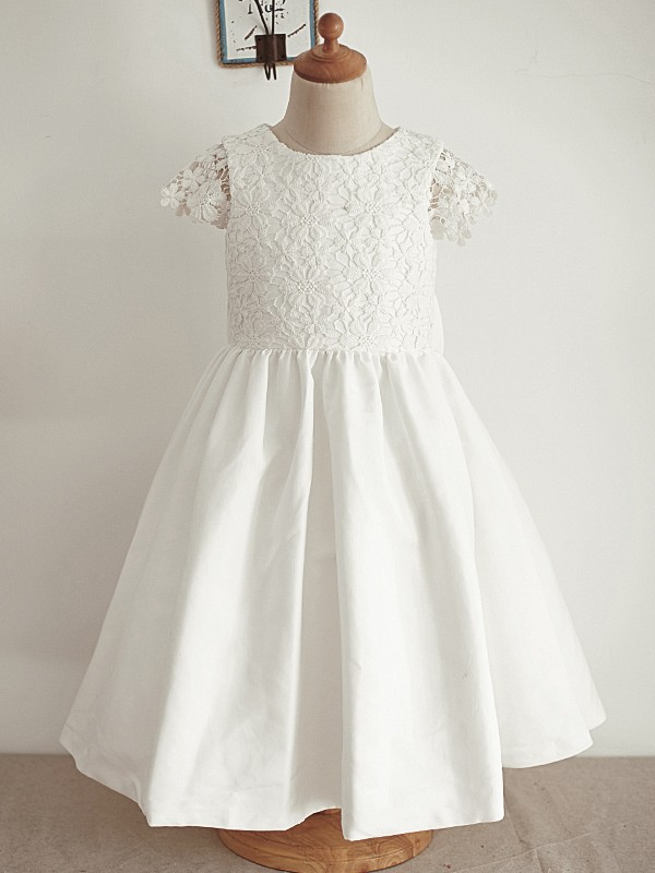 Stunning A-Line Lace Sequin Scoop Sleeveless Knee-Length Flower Girl Dress