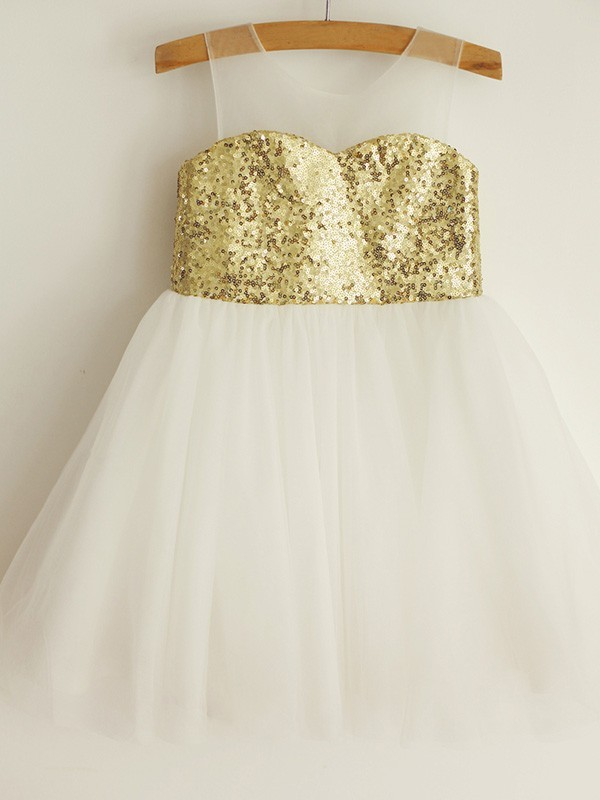 Elegant A-Line Scoop Sequin Sleeveless Tulle Knee-Length Flower Girl Dress