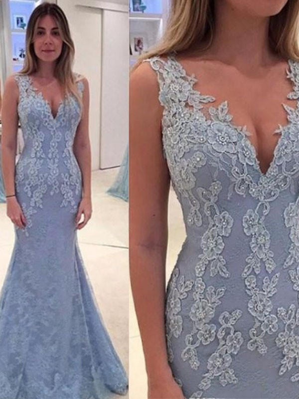Elegant Mermaid V-neck Sleeveless Sweep/Brush Train Lace Dress