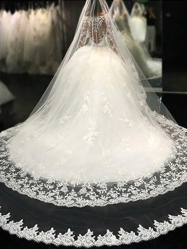 Cheap Ball Gown Scoop Long Sleeves Lace Cathedral Train Tulle Wedding Dress