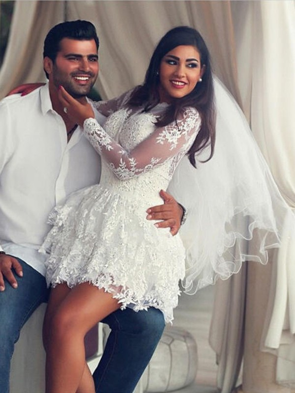 New A-Line Scoop Lace Long Sleeves Short/Mini Wedding Dress