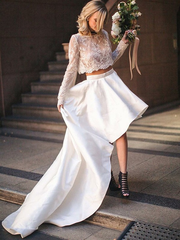 Amazing A-Line Satin Lace Scoop Long Sleeves Sweep/Brush Train Two Piece Wedding Dress