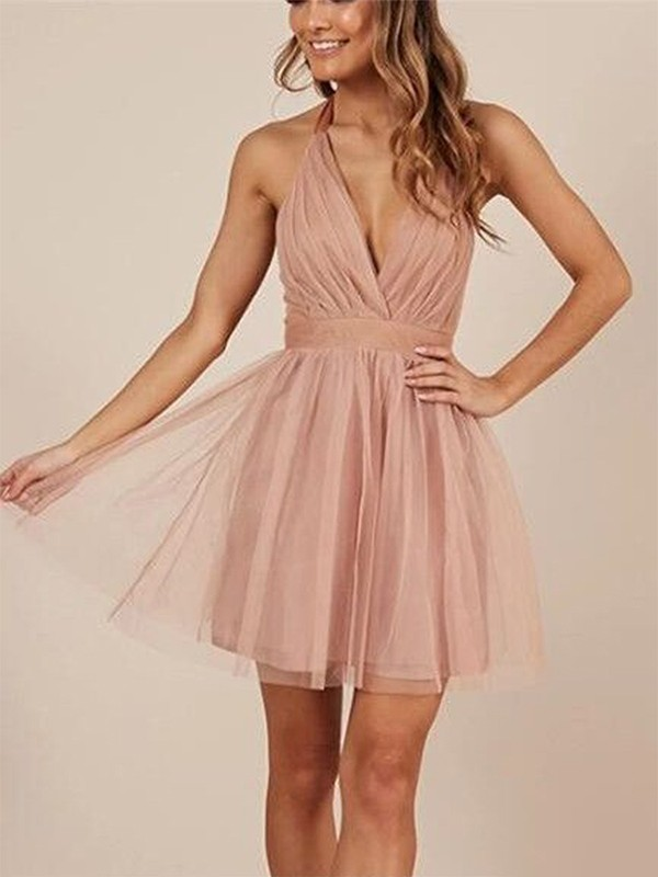 Gorgeous A-Line Sleeveless Halter Tulle Short Dress
