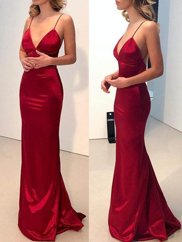 Fashion Sheath Spaghetti Straps V-neck Sweep/Brush Train Silk like Satin Dress
