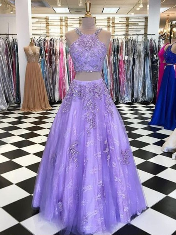 New Arrival A-Line Tulle Halter Floor-Length Two Piece Dress