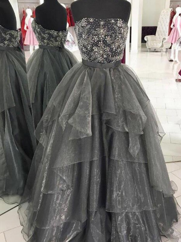 New Arrival Ball Gown Strapless Floor-Length Organza Dress