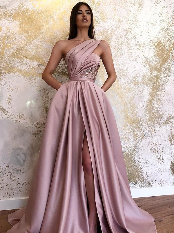 New Arrival A-Line Satin One-Shoulder Sweep/Brush Train Dress