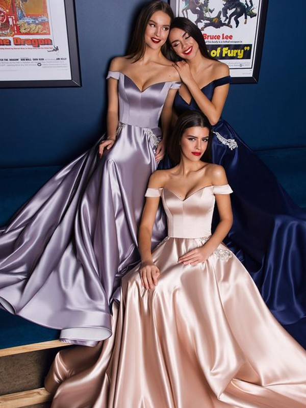 New Arrival A-Line Satin Off-the-Shoulder Sweep/Brush Train Dress
