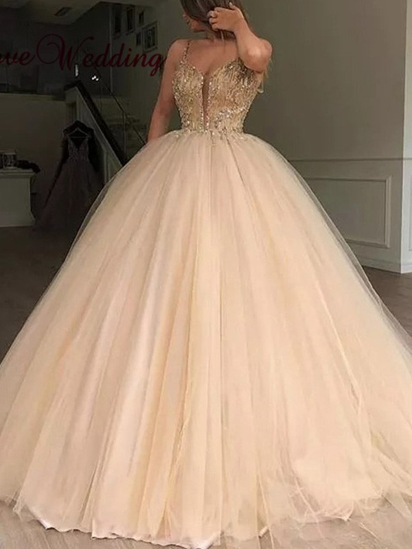 Chic Ball Gown V-neck Tulle Sleeveless Floor-Length Dress
