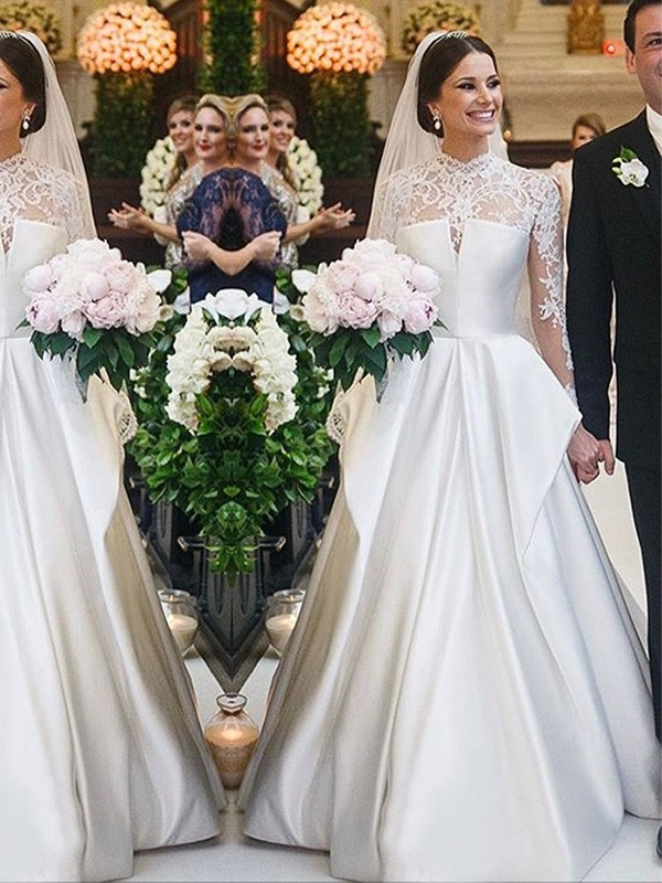 Perfect A-Line Lace Satin High Neck Long Sleeves Floor-Length Wedding Dress