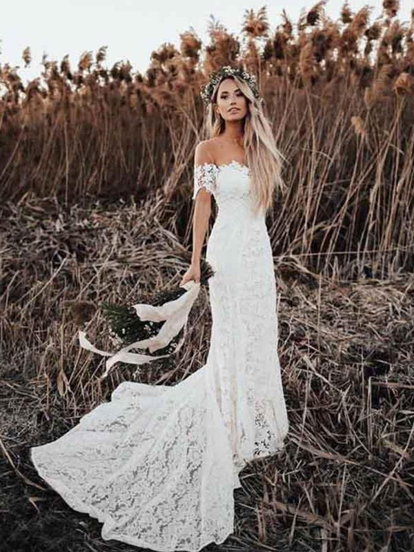 Affordable Mermaid Lace Off-the-Shoulder Short Sleeves Court Train Wedding Dress